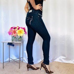 Indigo wash skinny jeans